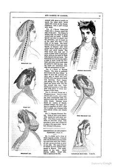 1865 Frank Leslie's Lady's Magazine. 1.Spotted tulle breakfast cap w/blk velvet cut in diamonds on lace base. 2.Tulle cap dotted w/jet. Black lace & ribbon. Insertion, purple flowers. 3.Tulle illusion breakfast cap, pink ribbon, jet, lace insert.,blonde fall. 4.Evening headdress, white lace, green velvet, Marie Stuart front. 5.Black-spotted silk tulle breakfast cap edged w/lace, violet velvet. 6.Tulle Catalonian headdress, edged blonde, pink velvet.