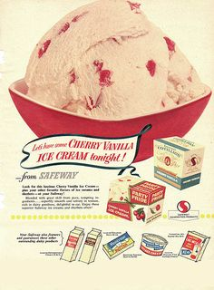 ice cream in Pyrex Red