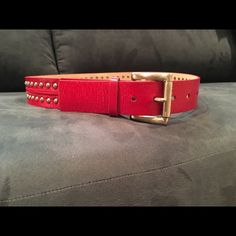 💋❤️🎁 Michael Kors Red Studded Belt! Temporary Reduction for Labor Day‼️Fun addition to any outfit! Never been worn in excellent condition. Studs are silver. All leather. 5 belt holes for adjustment. Michael Kors Accessories Belts