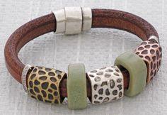Safari Regaliz™ Leather Bracelet @ antelopebeads.com