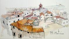 Sur les toits de Tarifa | par CROQUISNEUR Environment Sketch, Architecture Sketchbook, Watercolor Sketch, Sketch Ink, Art Watch, Landscape Drawings, Urban Sketchers, Medieval Castle, Painting Inspiration