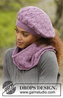 """Myra - Knitted DROPS beret and neck warmer with lace pattern in """"Lima"""". - Free pattern by DROPS Design"""