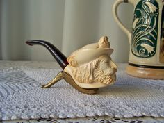 Vintage Meerschaum Pipe Hand Carved Cavalier by CynthiasAttic