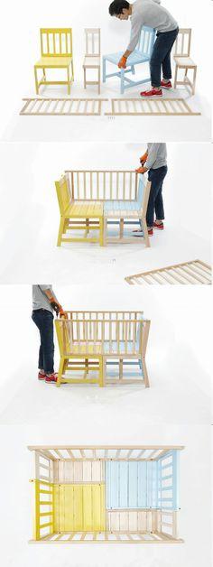 Прикольно, но что делать с узкими стульями? Если только соединить два в один...