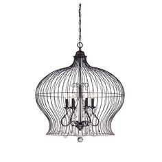 Featuring a forged black finish and crystal drop accents, this birdcage-inspired pendant casts a warm glow in your foyer or dining room.