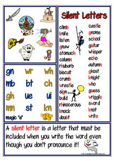 Silent Letter | Spelling Rule | Chart. See PHONOLOGICAL AWARENESS | Spelling |  at .... www.abcteachingresources.com