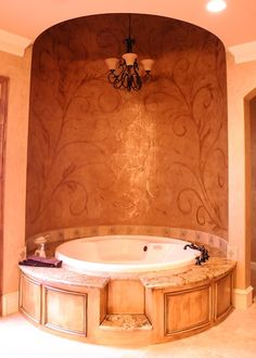 Rotunda wall with ornamental floral design both painted and glazed with Modern Masters Pale Gold Metallic Paint by Broads with Brushes.