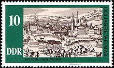 German Democratic Republic.  MILLENIUM OF WEIMAR.  WEIMAR 1630 AFTER MERIAN..  Scott 1686 A513, Issued 1975 Sept 3, Litho., Perf. 13 1/2 x 13,  10.  /ldb.  (MINT)