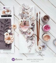 Absolutely beautiful Pretty pale collection and [Re]design moulds by 😍💕 and my canvas cm😊🐚 a little bit Summer in Winter😋 Altered Canvas, Altered Art, Mix Media, Scrapbook Paper Crafts, Scrapbook Cards, Finnabair Mixed Media, Mixed Media Scrapbooking, Prima Marketing, Home And Deco
