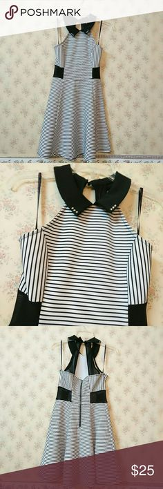 Material Girl Black&White dress NWOT Beautiful Material Girl Black&White dress with mesh. I also added Swarovski rhinestone to the dress collar.  Size Small   Great for party, summer dress, or special occasion. Material Girl Dresses Midi