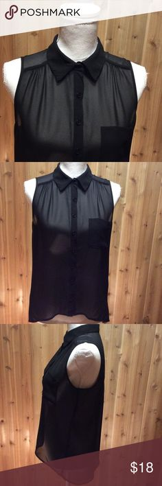Six Degrees of Seperation Black Sleeveless Top Six Degrees of Seperation Sassy Black Top... The sheer thought of having your bra show was taboo.... now stylish. Going Clubbin match this with a pair of skinny jeans and stilettos and head out!! 100% polyester🌸 Six Degrees of Separation Tops Button Down Shirts