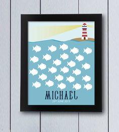 Árbol de huellas o firmas, cuadro marinero con un faro y peces sobre los que firmar. Ideal para nacimientos,cumpleaños infantiles, árbol de familia,