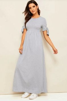 To find out about the Knot Cuff Heather Grey Dress at SHEIN, part of our latest Dresses ready to shop online today! Knot Dress, Tee Dress, Gray Dress, Striped Dress, Combo Dress, Latest Dress, Fit Flare Dress, Casual Dresses, Short Sleeve Dresses