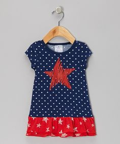 Blue Polka Dot Ruffle Star Dress - Infant, Toddler & Girls | Daily deals for moms, babies and kids