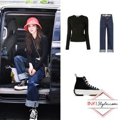 Kpop Outfits, Korean Outfits, Fashion Outfits, Sandara Park, Outfits With Converse, Simple Outfits, Alexander Wang, Korean Fashion, Wide Leg