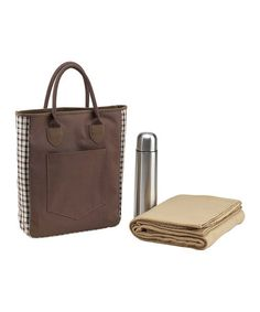 Loving this Brown Plaid Coffee & Blanket Tote on #zulily! #zulilyfinds