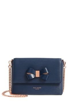 f89f99d12d3910 Image of Ted Baker London Bowii Bow Mini Bark Leather Crossbody Bag