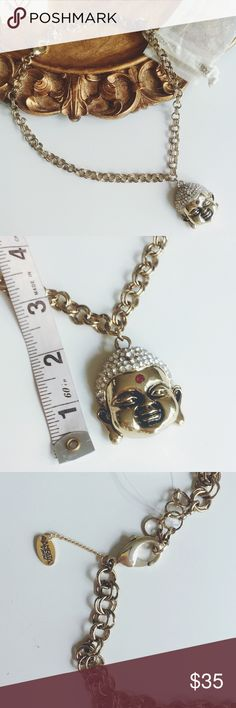 "NWT Amrita Singh Bling Bling Buddha gold necklace NWT Bling Bling Buddha necklace.  Thick gold chain approx 24""L with 2"" extender.  Pendant approx 2"" by 2"".  Lobster claw clasp.  Made of brass with Austrian Crystal. 🐻offer welcome or bundle to save more 🚫no trade Amrita Singh Jewelry Necklaces"