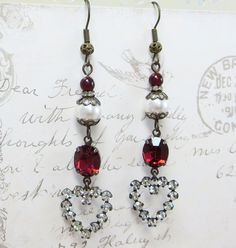Heart Earrings Garnet Red Heart Ear Dangles by dfoxjewelrydesigns
