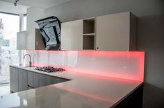 LED Illuminated Kitchen Glass Splashbacks by CreoGlass Design http://www.creoglass.co.uk/kitchen-glass-splashbacks/led-splashbacks/