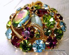 Hattie Carnegie Heliotrope Glass Brooch.  Hattie Carnegie is my favorite designer of vintage jewelry.