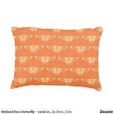 Stylized Deco butterfly  - coral orange