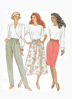 5857 Butterick Misses mid-knee, tapered, A-line elastic skirt or pants has pockets sewing pattern size 18 20 22 bust 40 42 44 vintage Skirt Patterns Sewing, Skirt Sewing, Pattern Sewing, Pattern Drafting, Pocket Pattern, Skirt Pants, Plaid Pants, Straight Skirt, Pants Pattern