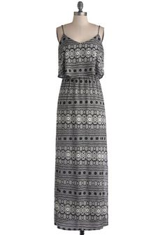 Playing with Patterns Dress - Woven, Long, Black, White, Print, Casual, Maxi, Spaghetti Straps, Good, Tiered, Beach/Resort