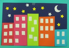 Storytime w/ Miss Carey Craft: Nightscape made with colorful paper rectangles… Toddler Crafts, Toddler Activities, Crafts For Kids, Arts And Crafts, Preschool Lessons, Preschool Activities, Preschool Shapes, Learning Shapes, Shape Crafts