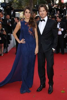Nikki Reed (in an Azzaro dress) and Ian Somerhalder at Cannes 2015