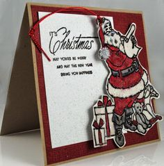 Created by Pam Hornschu for Stampendous and Art Anthology. Card/ornament featuring Santa's List.