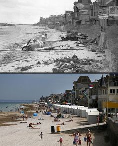 June A crashed US fighter plane is seen on the waterfront some time after Canadian forces came ashore on a Juno Beach D-Day landing zone in Saint-Aubin-sur-Mer, France Tourists enjoy the sunshine on the former Juno Beach D-Day landing zone. D Day Photos, Then And Now Photos, D Day Normandy, Normandy Beach, Normandy Ww2, Normandy Invasion, Normandy France, Juno Beach, D Day Landings