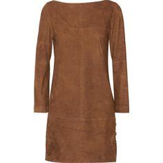 Vanessa Seward Blunt suede mini dress (5.370 BRL) ❤ liked on Polyvore featuring dresses, short dresses, mini dress, suede, chocolate, brown shift dress, suede dress, chocolate brown dress, brown suede dress and suede mini dress