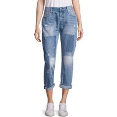 Levi's 501 Light Wash Patchwork Cropped Jeans (277 CAD) ❤ liked on Polyvore featuring jeans, apparel & accessories, destroyed cropped jeans, distressing jeans, light wash ripped jeans, blue ripped jeans and 5 pocket jeans