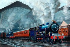 Great Eastern Railway Locomotive Hauling Train out of Liverpool Street Station - Cuthbert Hamilton Ellis Candy Y Terry, National Railway Museum, Steam Railway, Liverpool Street, Train Art, Mobile Art, Old Trains, National Portrait Gallery, Art Uk