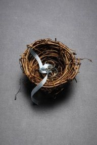 nest for rings for an outdoor wedding
