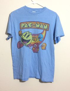 SOLD Vintage Pac Man Arcade Game 1980s 1990s Blue Short Sleeve
