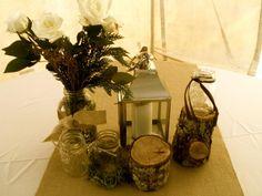 Decorating Mason Jars with Burlap   white cloths, burlap runner, logs, mason jars, candles & sunflowers
