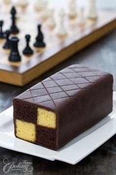 Chocolate Almond Battenberg Cake :: Home Cooking Adventure Mini Cakes, Cupcake Cakes, Cake Recipes, Dessert Recipes, Baking Desserts, Almond Cakes, Let Them Eat Cake, Food Processor Recipes, Cake Decorating