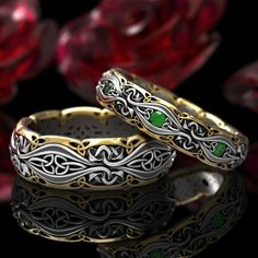 Celtic Mushroom Ring in Silver Gold & Platinum, Nature Inspired Celtic Wedding Band, Trinity Knot Mushroom Ring Wedding Rings Sets His And Hers, Wedding Rings Simple, Wedding Rings Vintage, Unique Rings, Celtic Knot Ring, Celtic Rings, Celtic Necklace, Ring Designs, Couple Bands