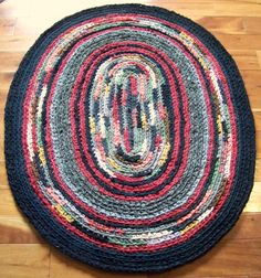 Crocheted Rag Rug Mid Century Rug Inspiration by elevensides
