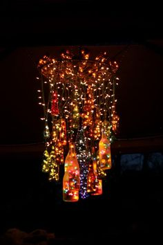 7 handmade chandelier craft http://hative.com/creative-wine-bottle-chandelier-ideas/