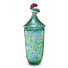 FLECKED GLASS ROOSTER JAR