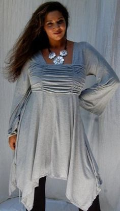BLOUSE TOP BABYDOLL RUCH ASYM FITS - M L XL 1X 2X - Q185S (Grey) LOTUSTRADERS. $43.99