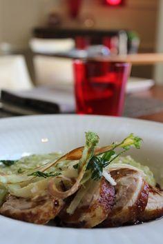 Chicken involtino tagliata with Asparagus risotto and Balsamico jus