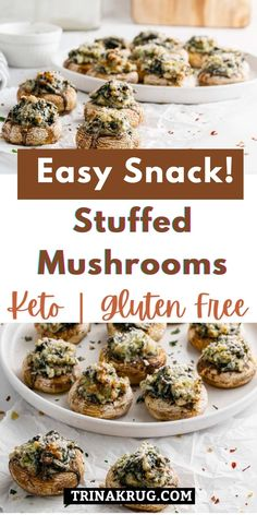 Keto Stuffed Mushrooms | These easy Keto stuffed mushrooms are packed with a creamy spinach and garlic mixture for a delicious side that's overflowing with melty goodness! #ketosnack Low Carb Appetizers, Great Appetizers, Appetizer Recipes, Snack Recipes, Side Recipes, Keto Recipes, Healthy Recipes, Potluck Dishes, Food Dishes