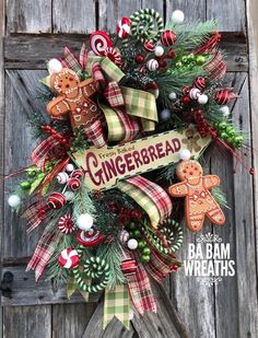 Wreaths are a classic Christmas tradition and they're great fun to make! Here's a list of over 80 beautiful Christmas ideas. Gingerbread Christmas Decor, Gingerbread Decorations, Christmas Swags, Outdoor Christmas Decorations, Christmas Centerpieces, Holiday Wreaths, Christmas Home, Christmas Holidays, Christmas Crafts