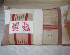 HUGE bolster pillow 27 x  17 Pillow French LINEN SHEET  Decorative hand embroidered monograme antique French fabric--could use Amy's cross stitch initials-jc