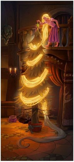 Rapunzel Decorating a Christmas Tree - Disney Tangled Disney Pixar, Disney Rapunzel, Walt Disney, Rapunzel Flynn, Disney Amor, Deco Disney, Disney Girls, Disney And Dreamworks, Disney Magic
