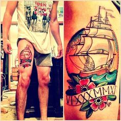 Sailor theme tattoo on the leg #tattoos #tattoo #ink